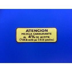"PEGATINA DEPOSITO MONTESA COTA  ""ATENCION"" MEZCLA CARBURANTE"